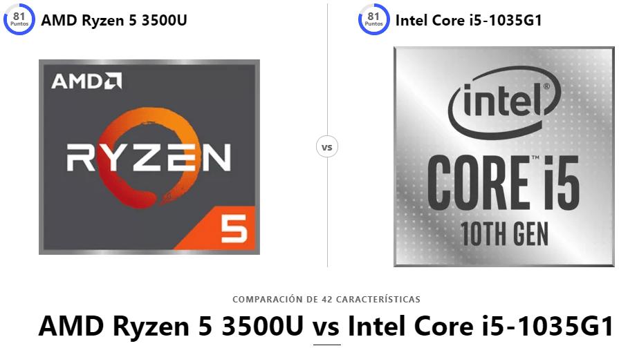 AMD Ryzen 5 3500U vs Intel Core i5-1035G1